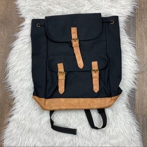 DSW | Black Backpack with Faux Leather Detail
